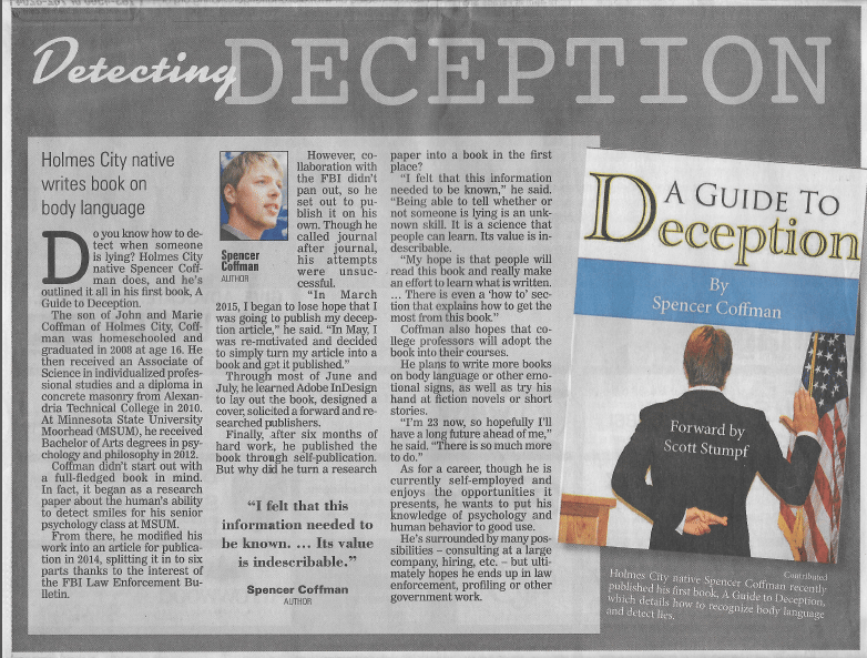 Spencer Coffman Alexandria Echo Press – Detecting Deception – October 2, 2015 – PDF