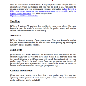 free press release template spencer coffman