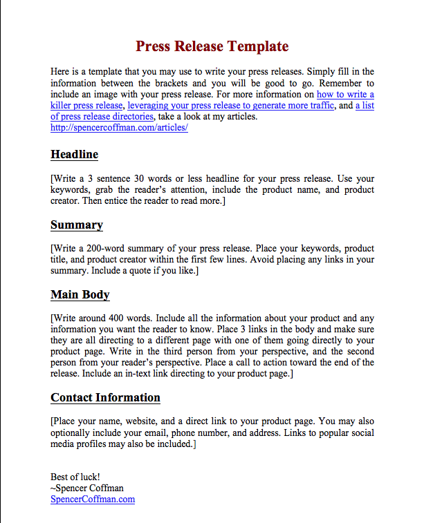 template of a press release - free press release template for your press releases
