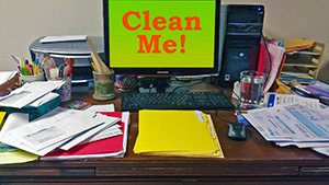 how to declutter messy desk spencer coffman