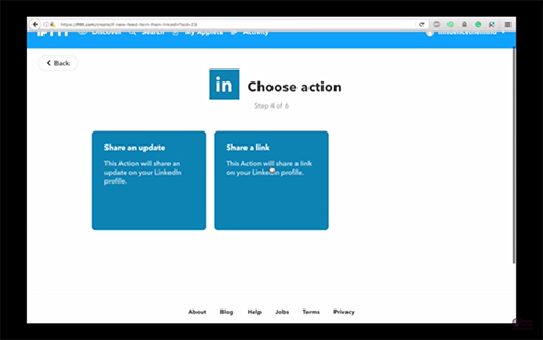 steemitvideos automatically share steemit post to linkedin ifttt spencer coffman choose action